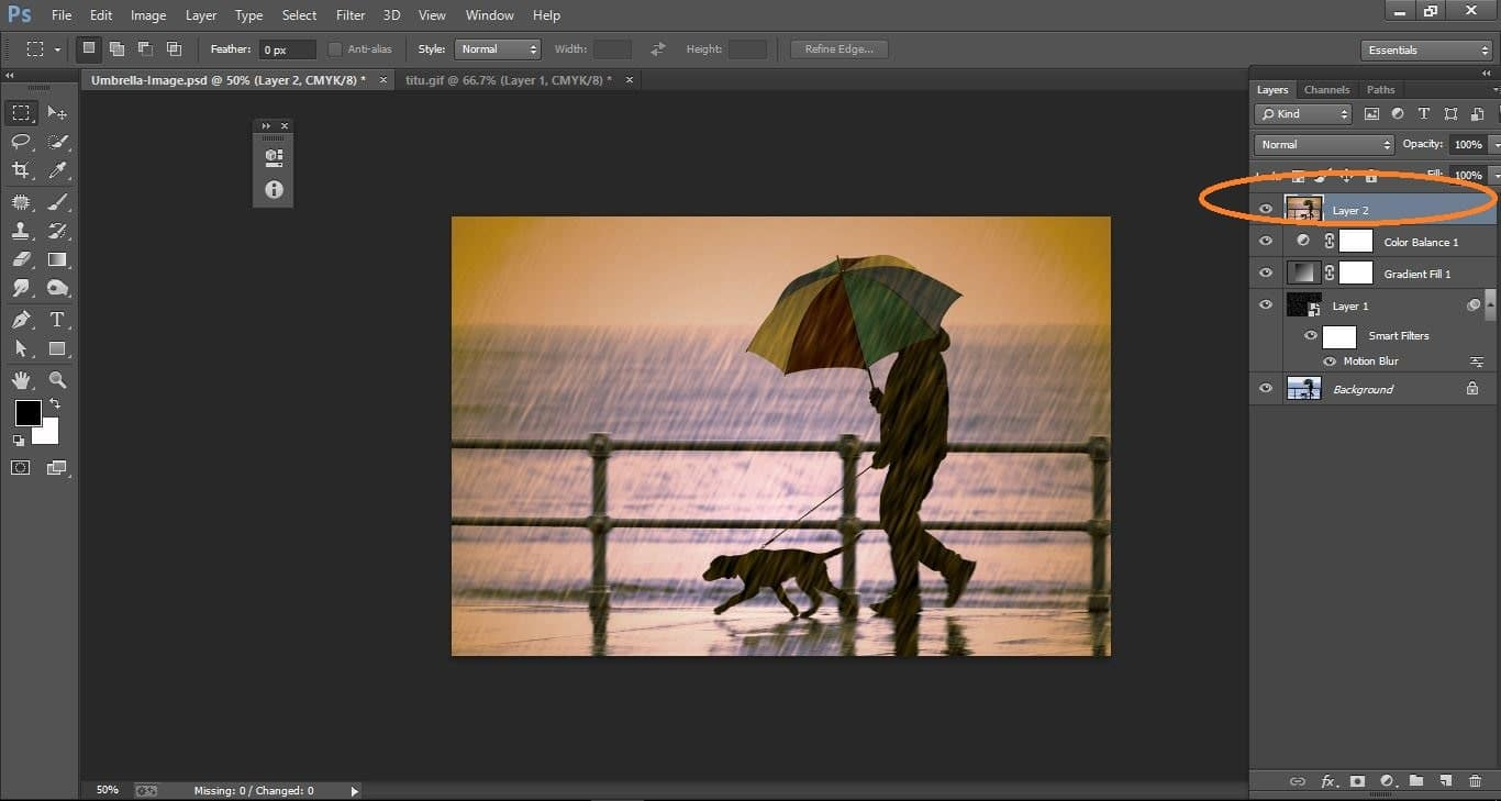 rain effect in Photoshop