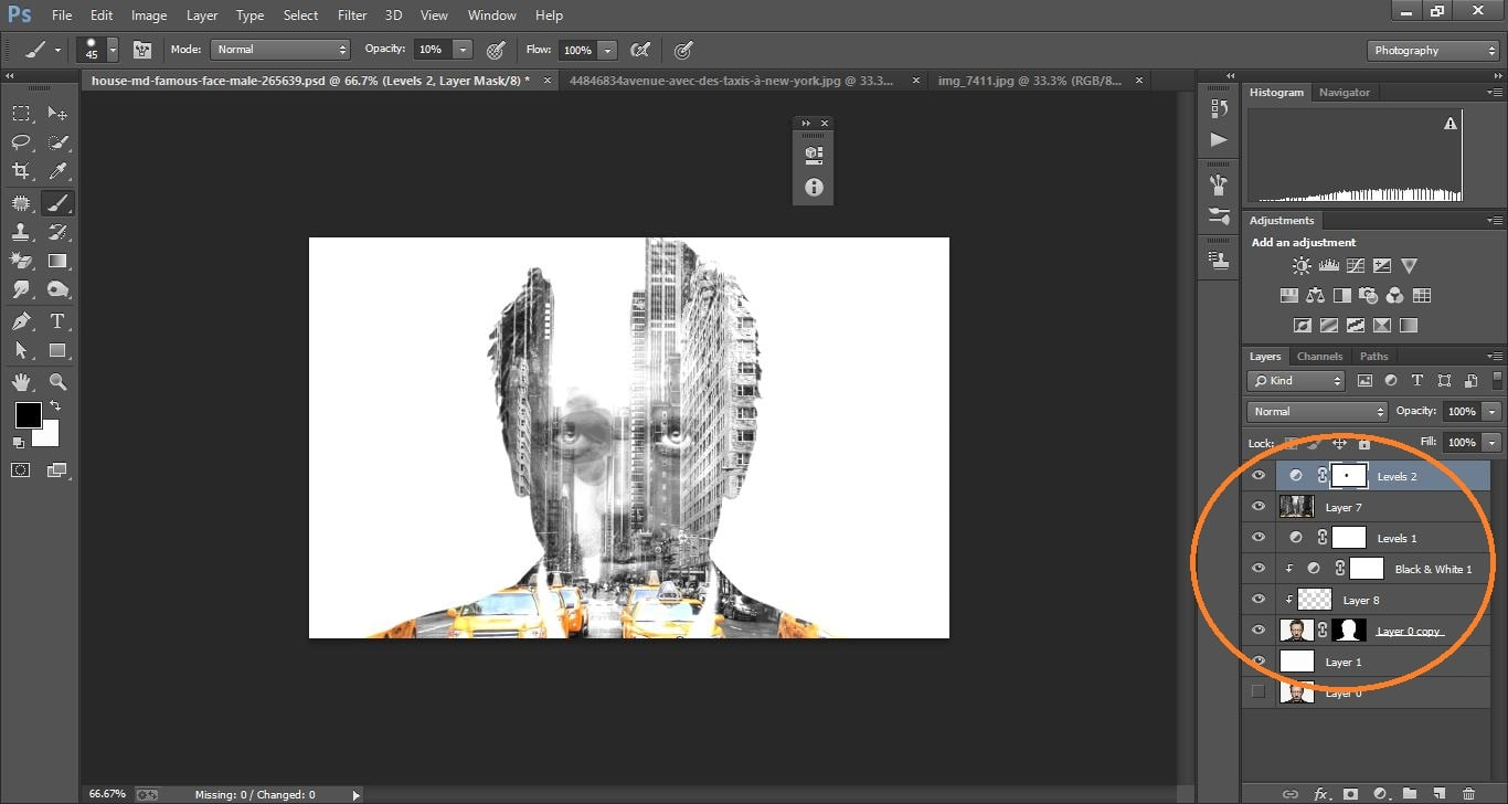 How to create double exposure portrait manipulation Man with New York City) –in Photoshop